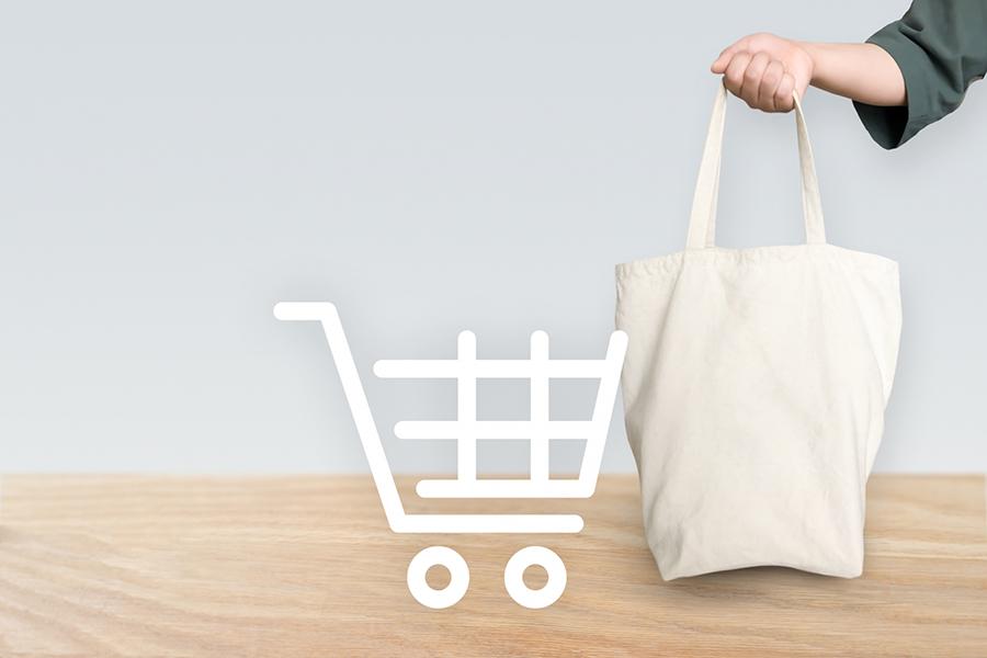 買い物とマイバッグのイメージ写真